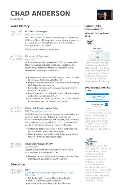 Business Manager Resume samples - VisualCV resume samples database