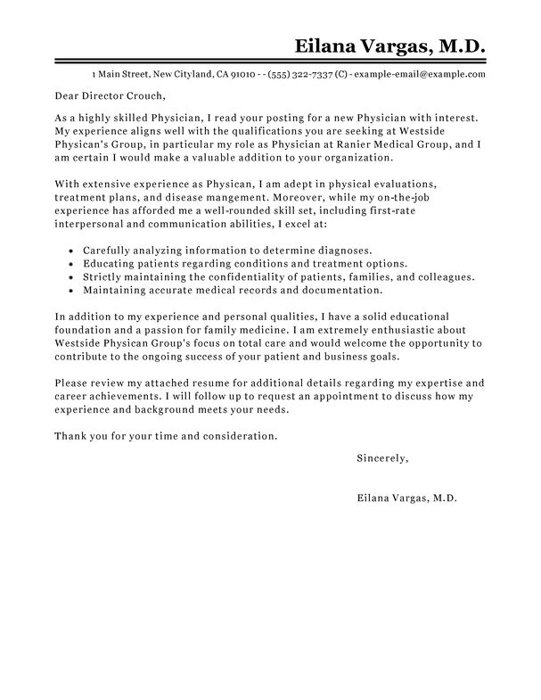 Best Doctor Cover Letter Examples | LiveCareer