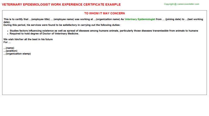 Veterinary Pathologist Work Experience Letters