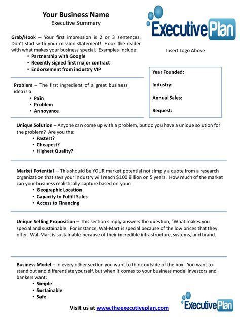 Executive summary template for startup: a one page with all the ...