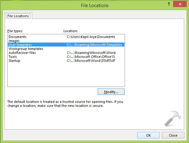 How To] Change Custom Office Templates Folder Location In Office 2013