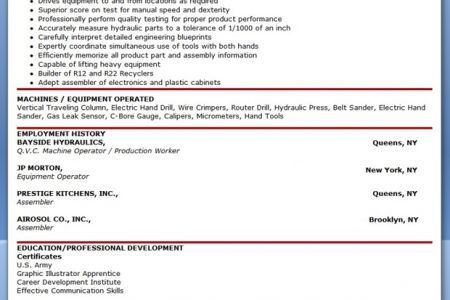 sample of machine operator resume