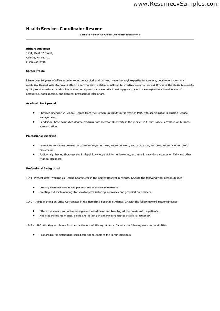 Service Coordinator Resume | Pitch.billybullock.us