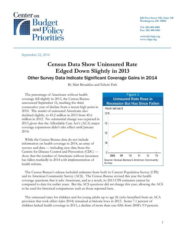 Census Data Show Uninsured Rate Edged Down Slightly in 2013 ...