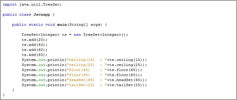 Java TreeSet : ceiling(), floor(), headSet(), tailSet()
