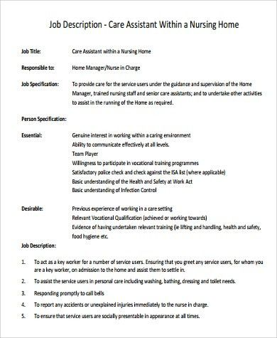Sample Nursing Assistant Job Description   9+ Examples In PDF, Word