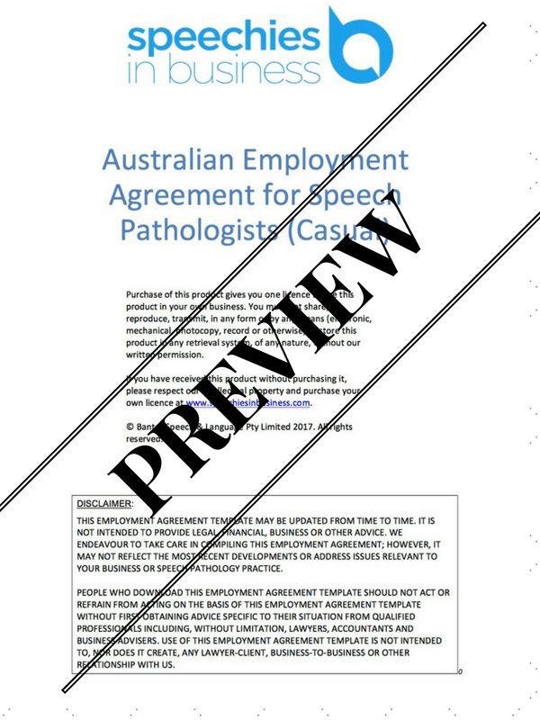 Australian Employment Agreement Template for Speech Pathologists ...