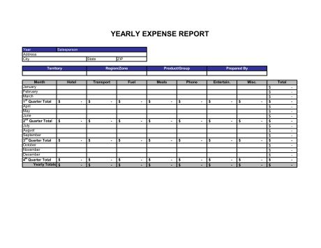 Expense Statement Yearly - Template & Sample Form | Biztree.com