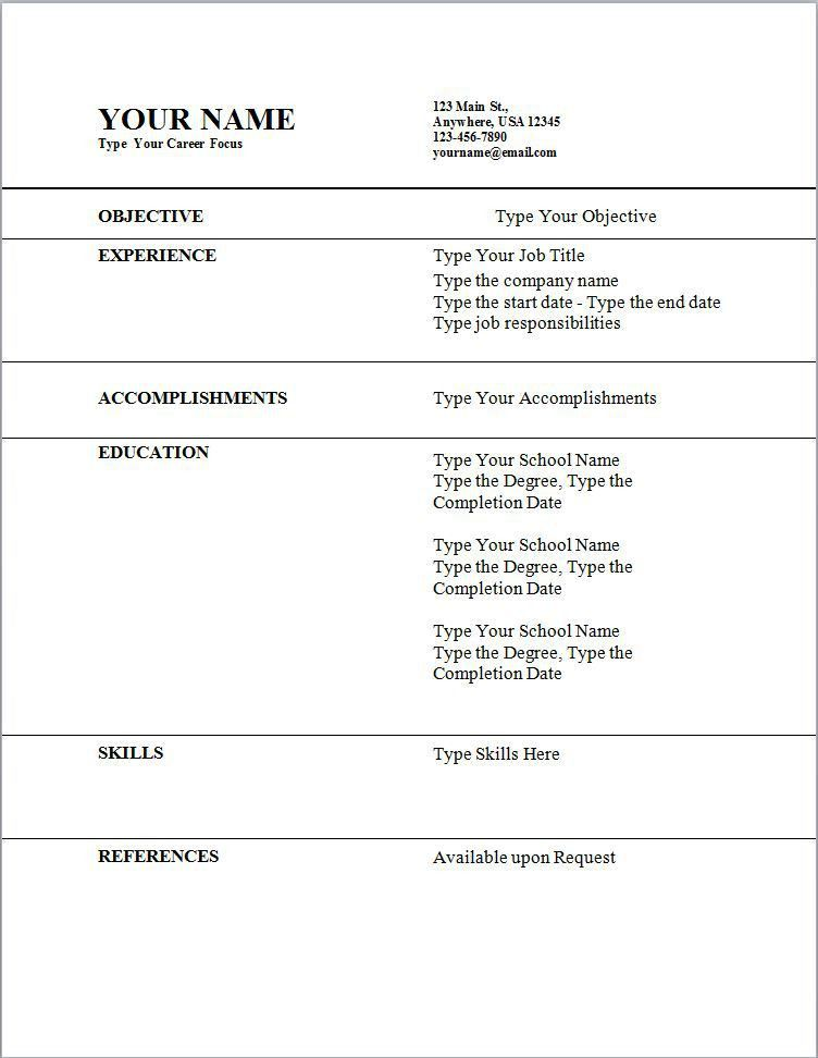 Resume Examples. free online templates for resumes microsoft ...