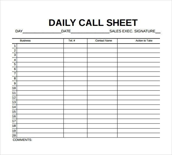 8+ Sample Call Sheet Templates – Free Sample, Example, Format ...