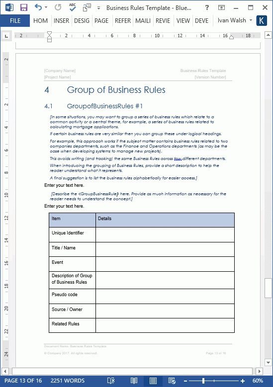 Business Rules Templates (MS Word/Excel)
