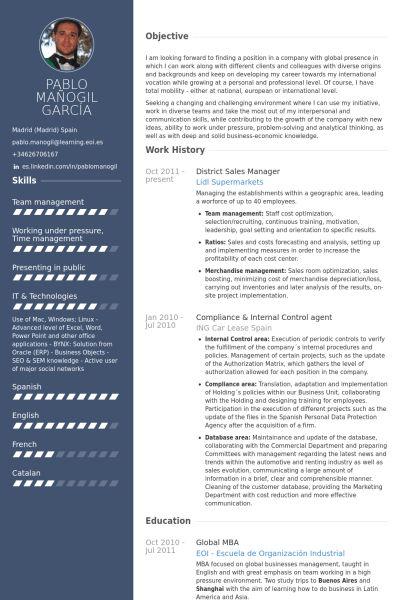 District Sales Manager Resume samples - VisualCV resume samples ...