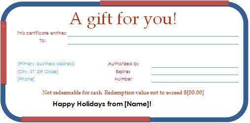 Holiday Gift Certificate Template for WORD | Document Hub
