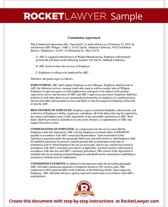 Sales Commission Agreement Template Form (with Sample)