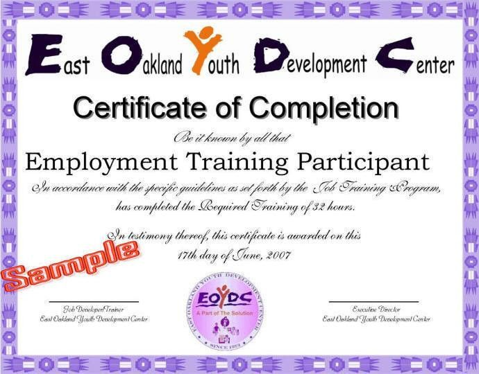 Job Training Certificate EOYDC