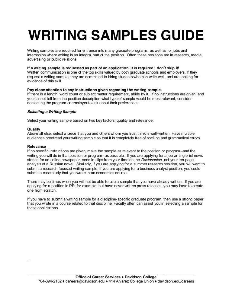 Writing samples guide