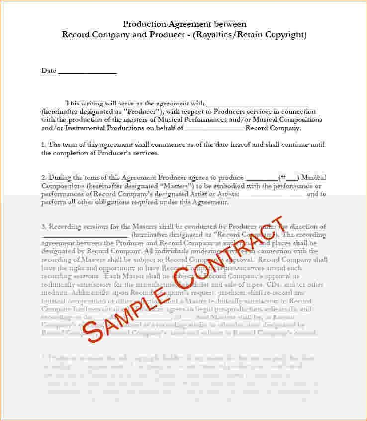 Sample Artist Contract Template. Record Labels Recording Contract ...