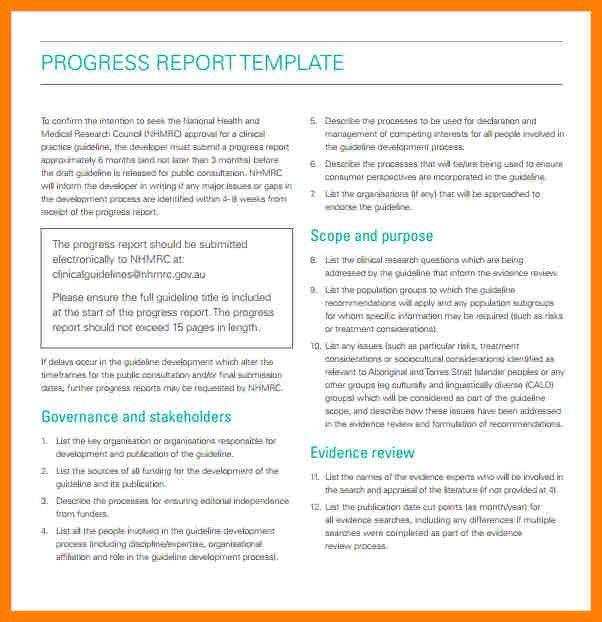 Progress Report Templates - Template Examples