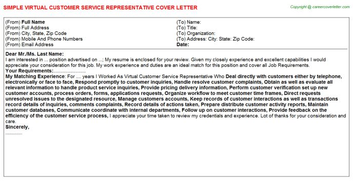 Virtual Customer Service Representative Cover Letter