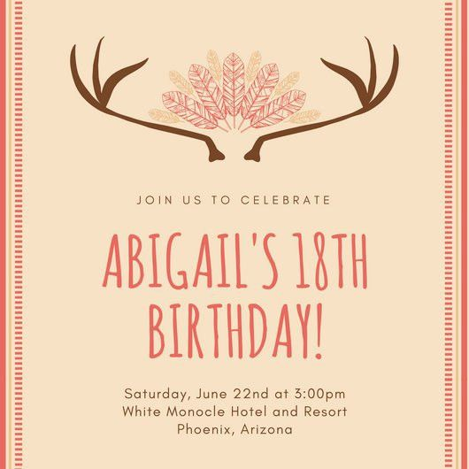 Bohemian Bordered 18th Birthday Invitation - Templates by Canva