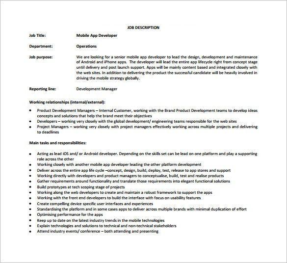 11+ Web Developer Job Description Templates – Free Sample, Example ...