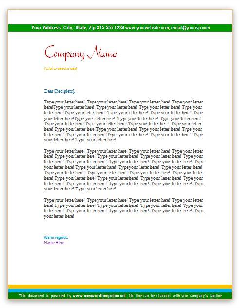 Short header letterhead template