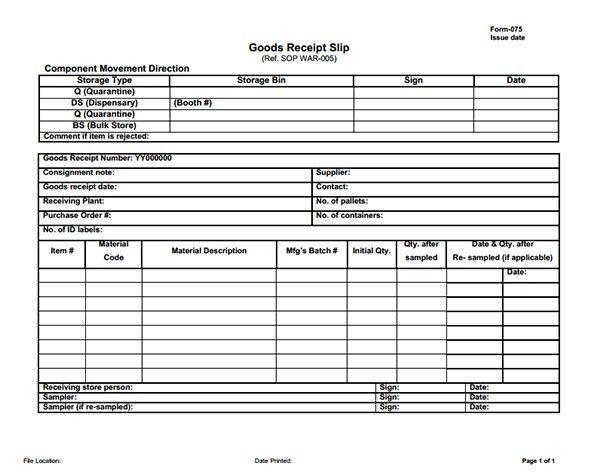 Receipt Template for Goods, Sample of Goods Receipt Template ...