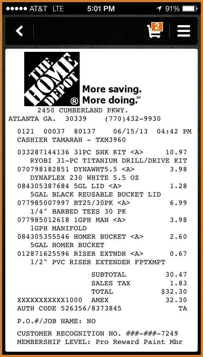 home depot receipt template | notary letter