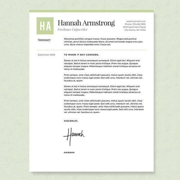 Green Freelancer Resume, Cover Letter & References Template ...
