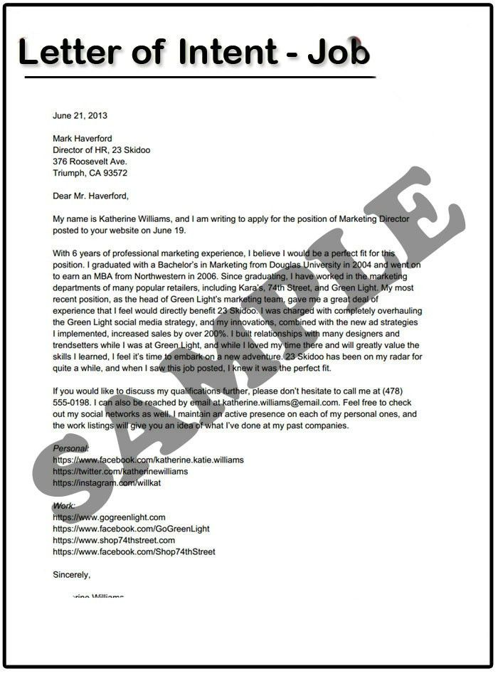 Letter Of Intent For A Job | custom-college-papers