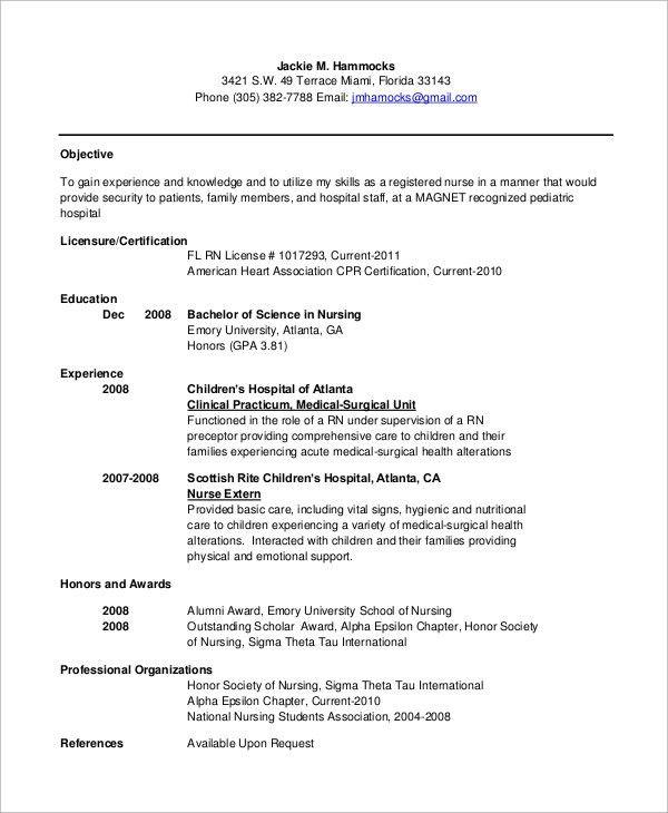 Sample Nursing Resume - 10+ Examples in Word, PDF