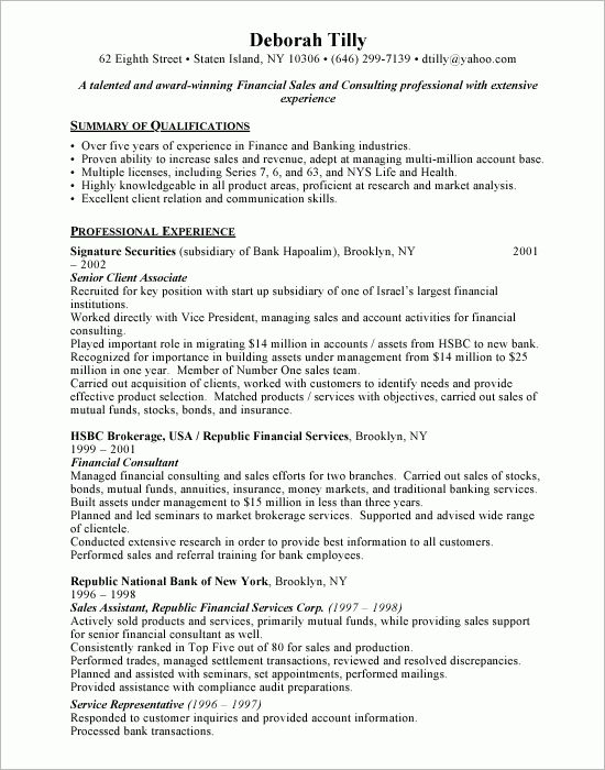 financial advisor sample resume sample resumes financial advisor - Investment Advisor Sample Resume