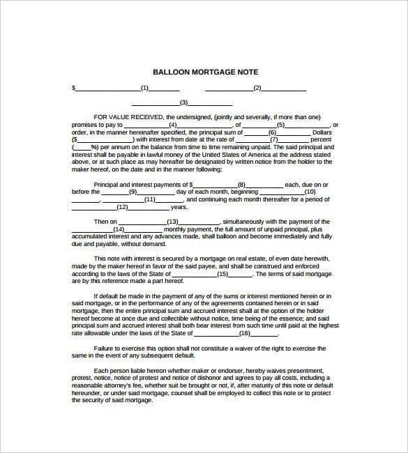 Mortgage Note Templates – 6+ Free Word, Format Download!   Free ...