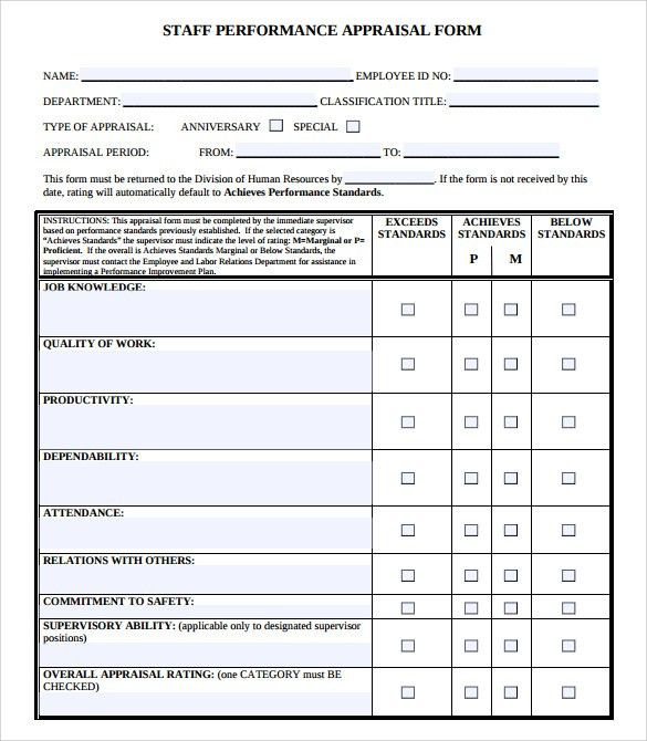 Employee Performance Evaluation Form. Employee Performance ...