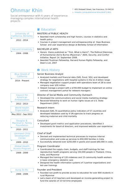 Senior Business Analyst Resume samples - VisualCV resume samples ...