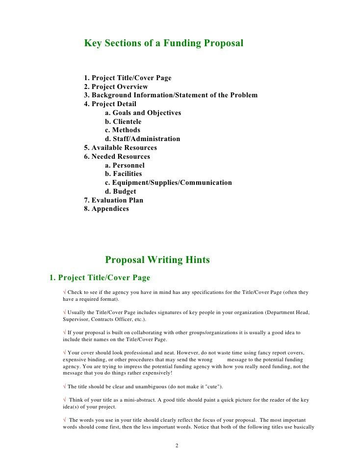 Guide for writing funding proposal