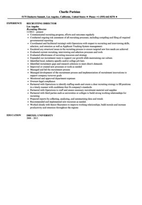 Recruiting Director Resume Sample | Velvet Jobs