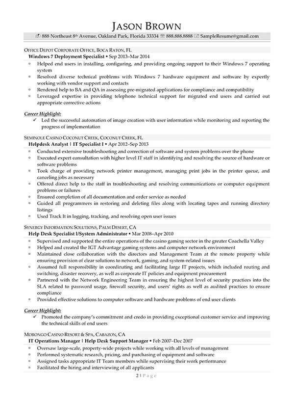 Help Desk Manager Resume | Samples.csat.co