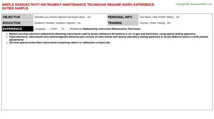 Instrumentation Technician Cover Letter