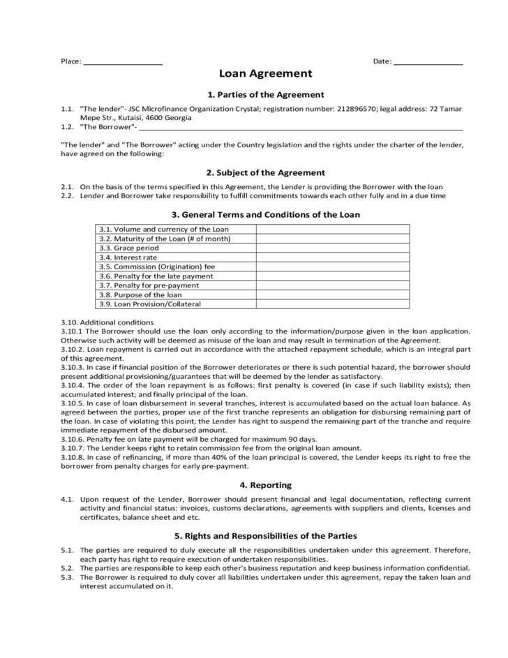 Loan Agreement Sample Form Free Download
