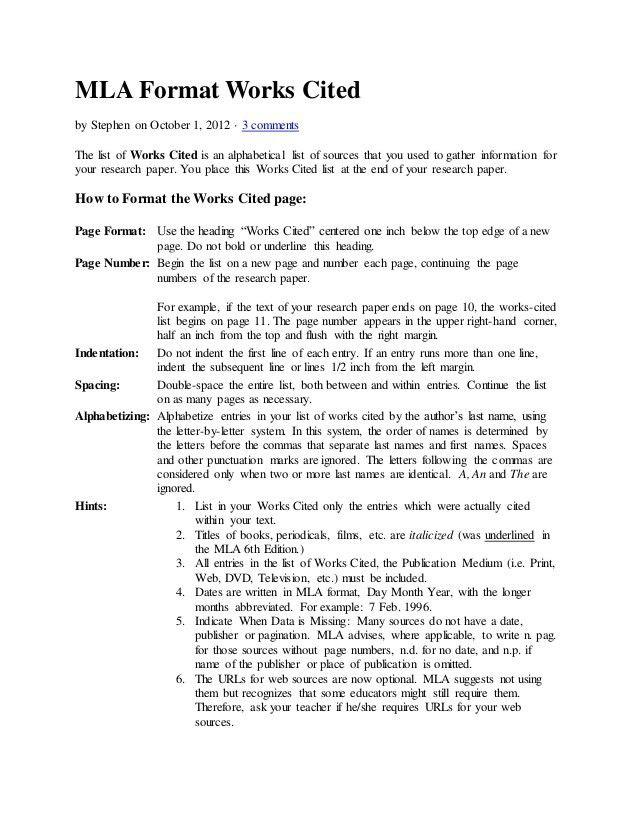 Mla format works cited