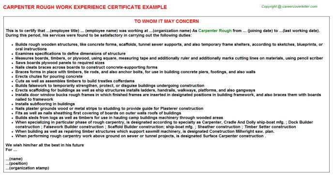 Carpenter Rough Work Experience Certificate