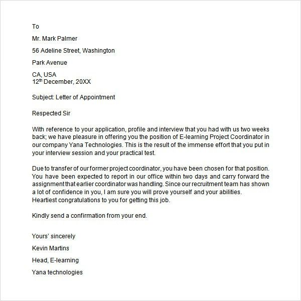 sample appointment letter download free documents pdf word format ...