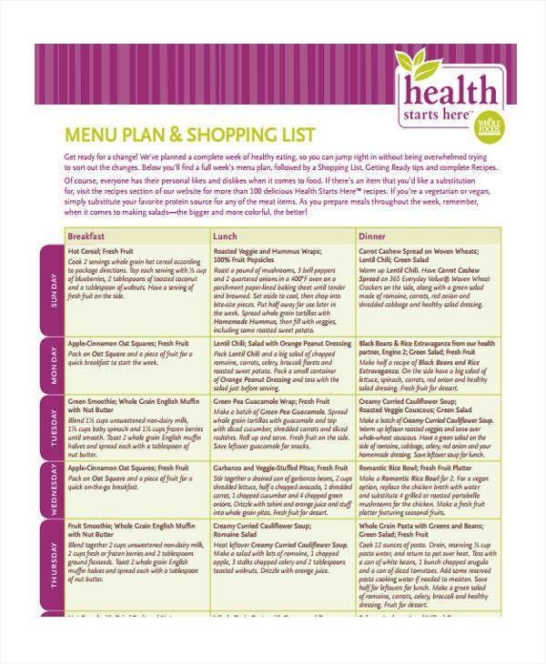 12+ Food List Sample - Free Sample, Example, Format Download