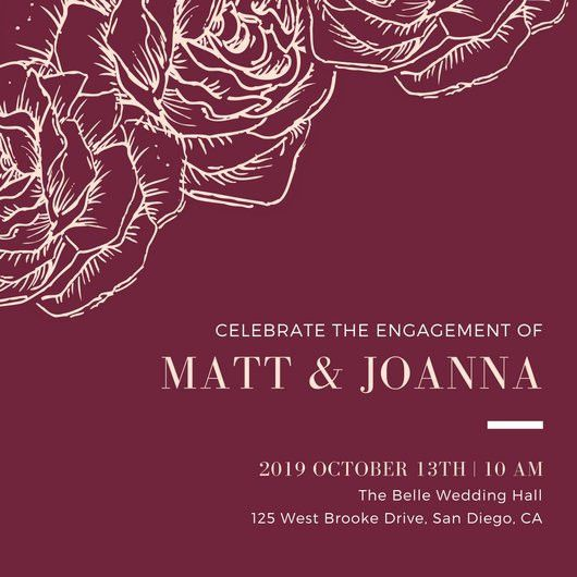 Dark Red with Sketched Flowers Engagement Invitation - Templates ...