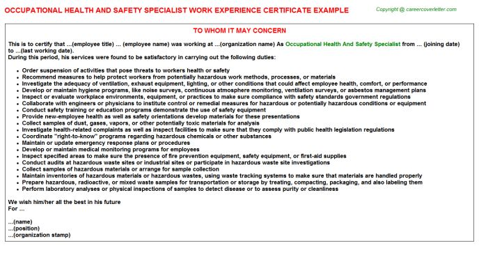 Occupational Health And Safety Specialist Work Experience Certificate