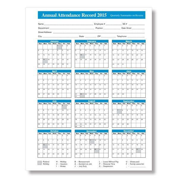 2015 Employee Attendance Calendar Free Printable Attendance ...