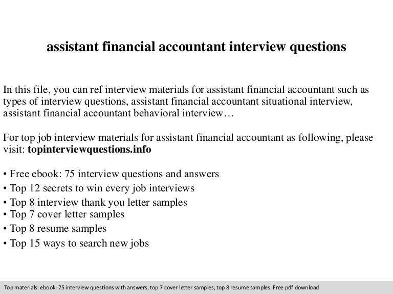 Assistant financial accountant interview questions