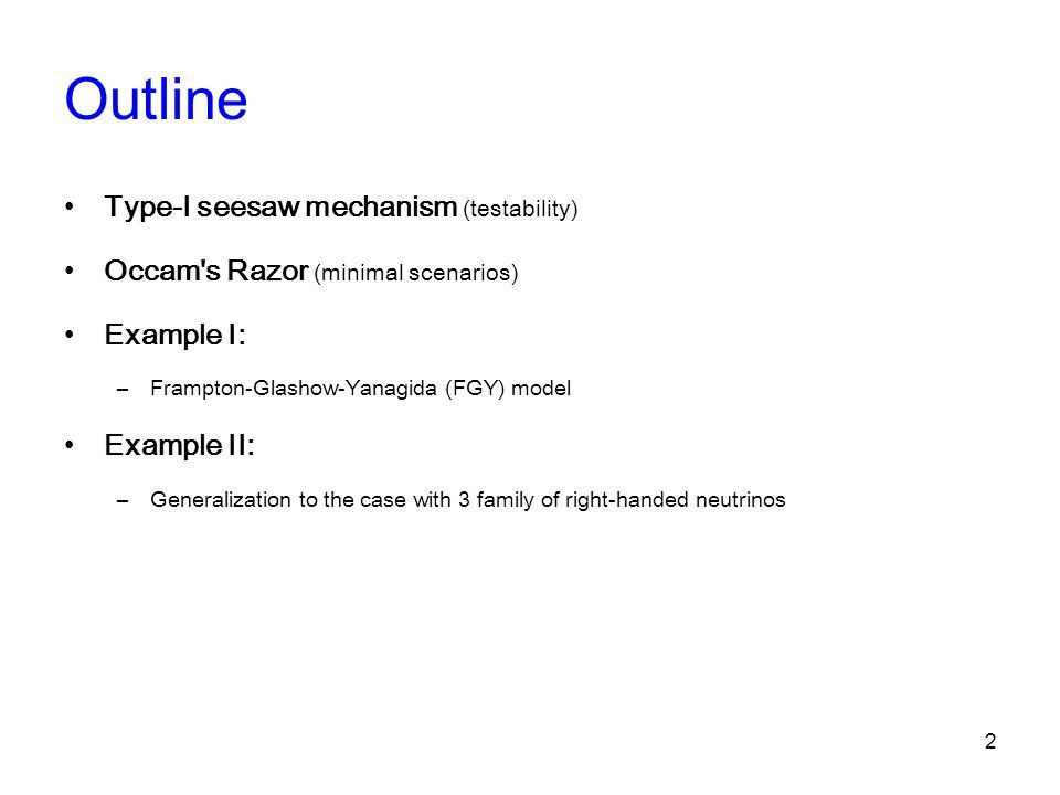 Shaving Type-I Seesaw Mechanism with Occam's Razor - ppt download