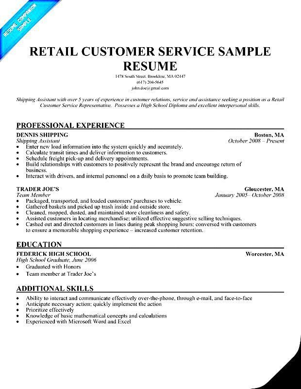 Retail Customer Service Resume Sample - Free Samples , Examples ...